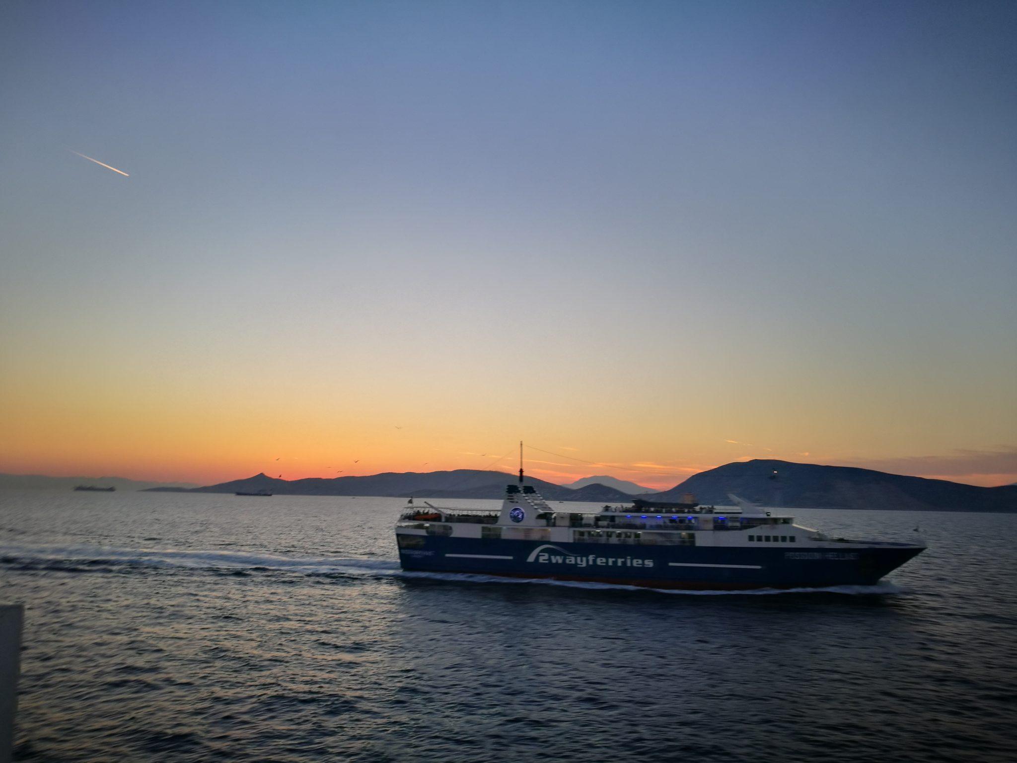 Zachód słońca w drodze na Eginę